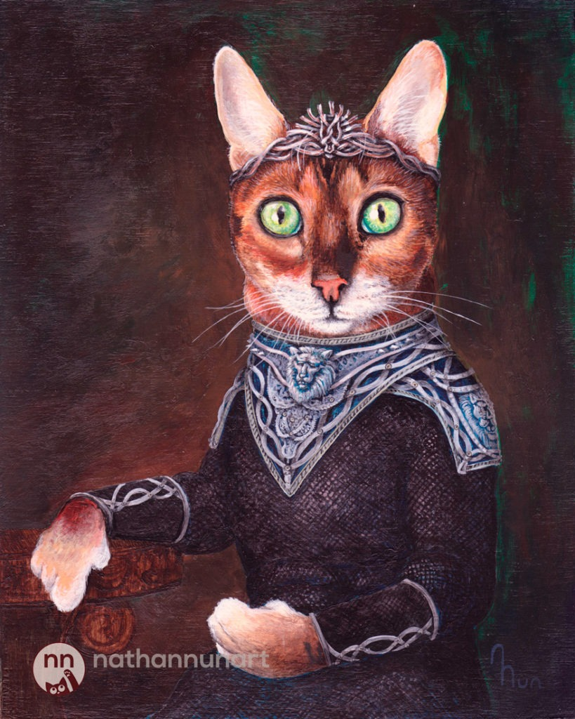 Taki the cat painted as Cersei Lanister from Game of Thrones