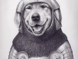A golden retriever outfitted in early 15th century English armor