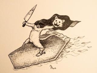 A headless pie cat riding a flaming piece of pumpkin pie