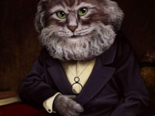 Digital painting of Karl Manx - a cat character of Karl Marx