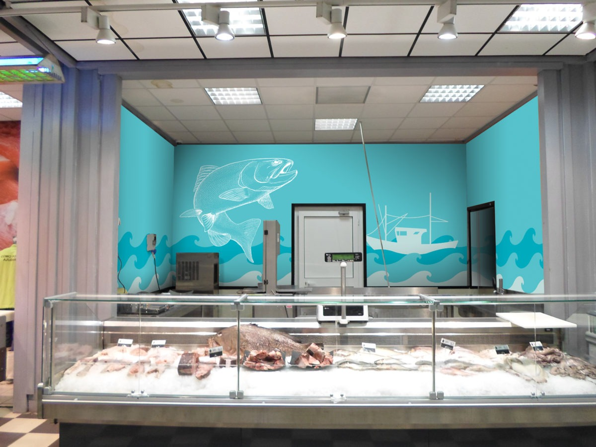 Mockup of fish illustration on grocery store wall