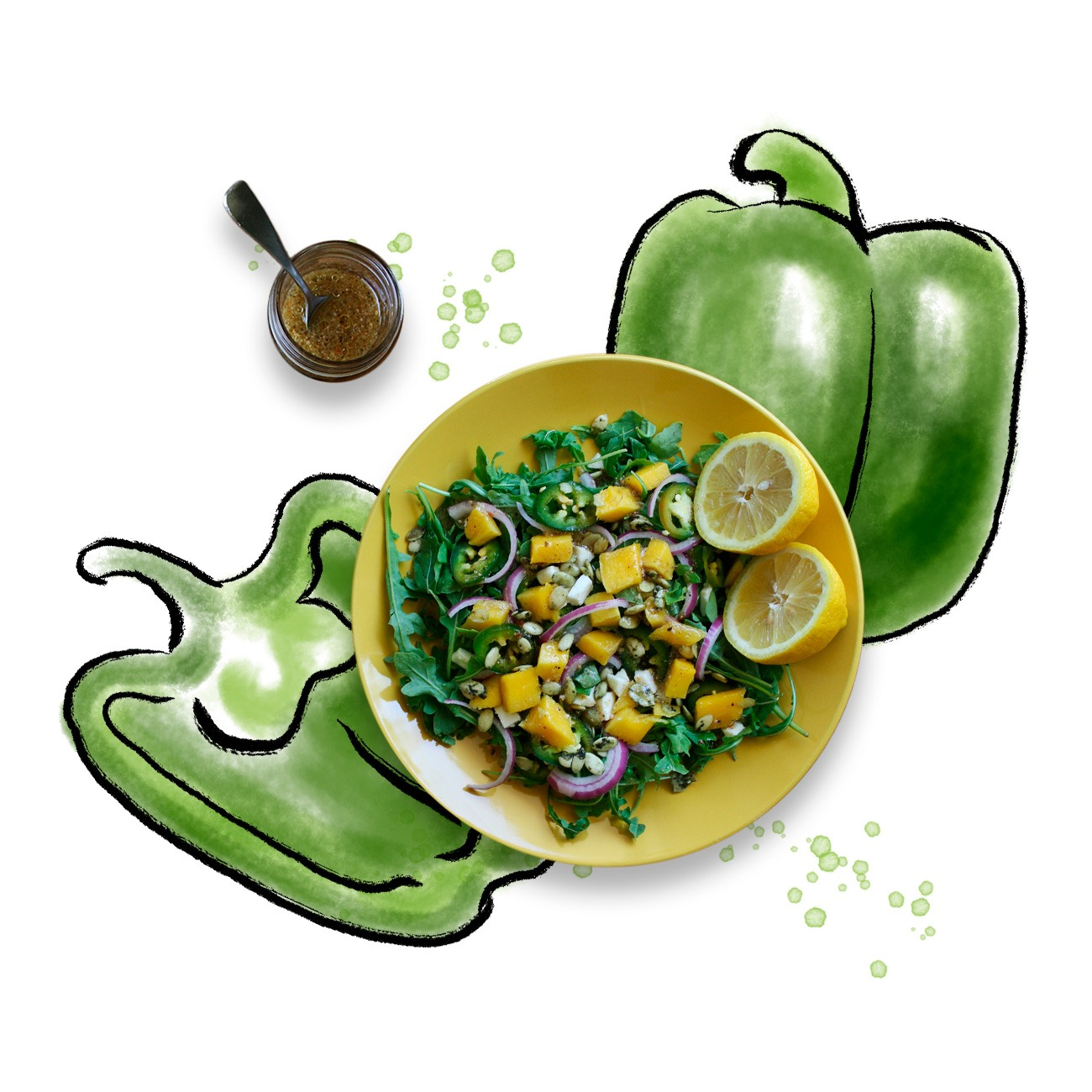 illustrated green peppers with a salad