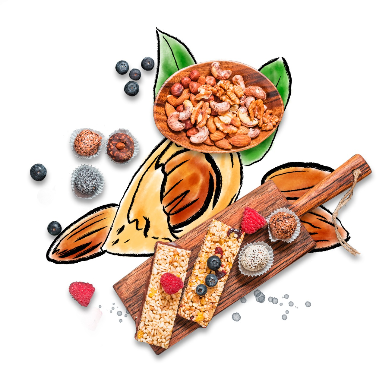 Illustrated almond background with nuts and granola