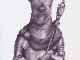 A terrier outfitted in 16th century Europe influenced armor