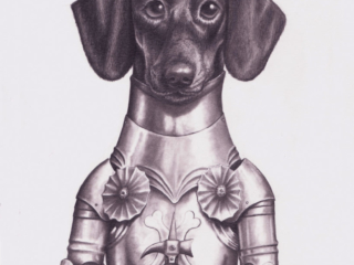 A dachshund in armor based on 15th century, European design.