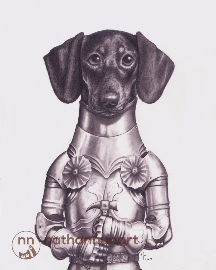 A dachshund in armor based on 15th century, European design.