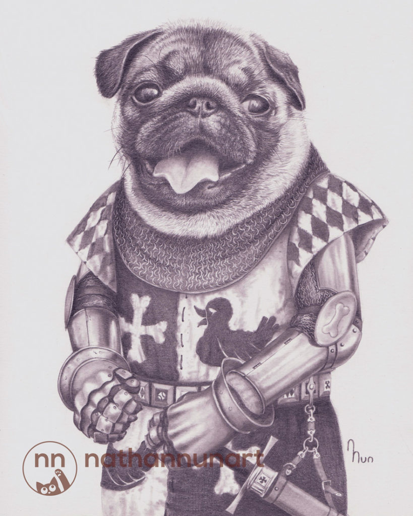 A pug outfitted in 14th century European armor.
