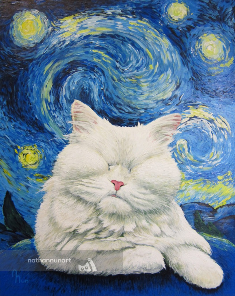 Custom pet portrait of Moet the cat with a starry night background