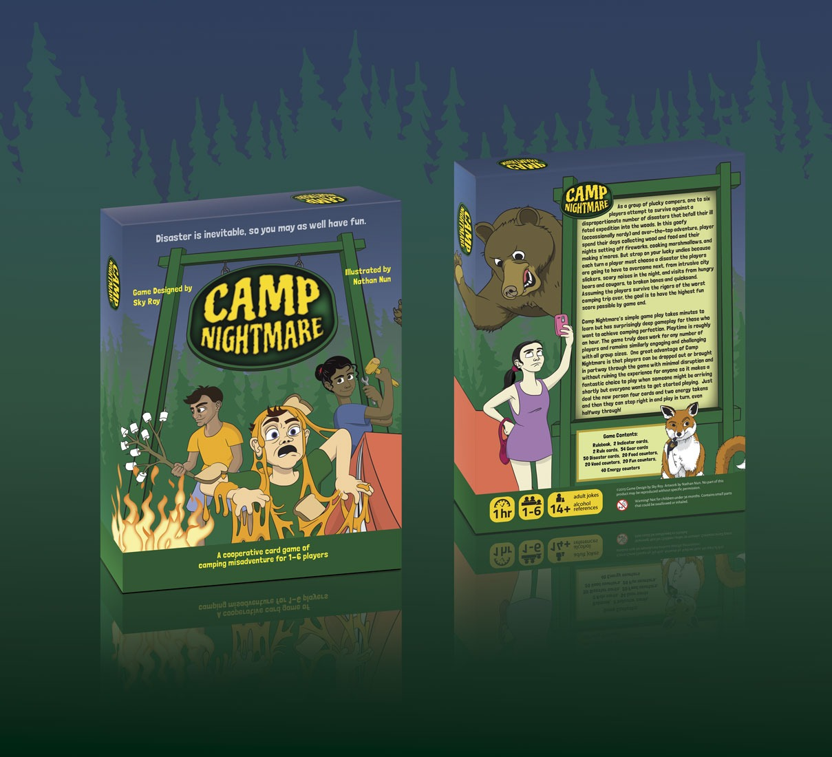 Box design for the boardgame Camp Nightmare