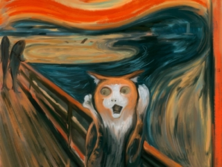 A cat pastiche remake of Edvard Munch's Scream