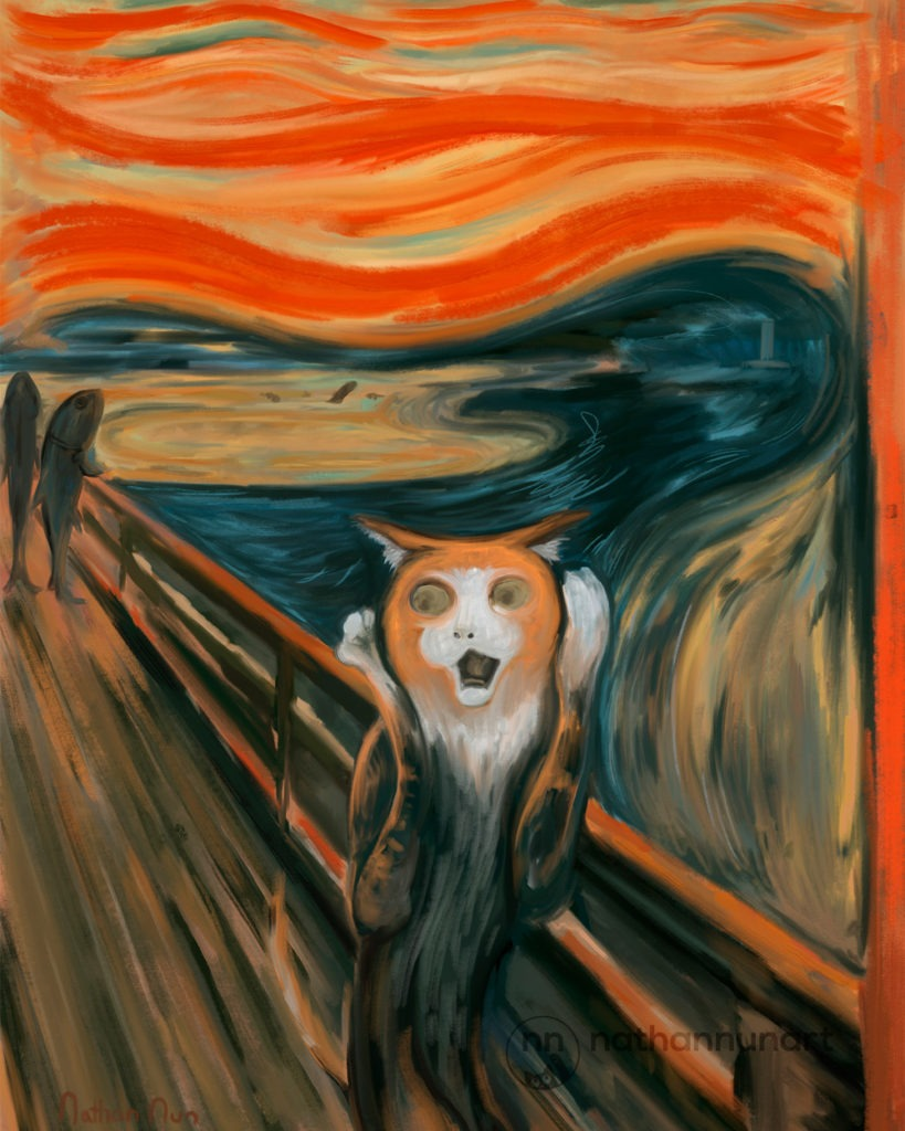 A cat pastiche remake of Edvard Munch's Scream