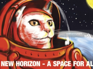 A New Horizon - A Space For All! - part of my series of pastiche cat posters based on images and styles from the soviet era with reinterpreted meanings
