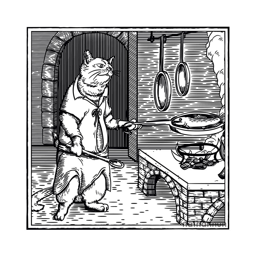 Cooking Cat - part of my medieval woodcut cats series.