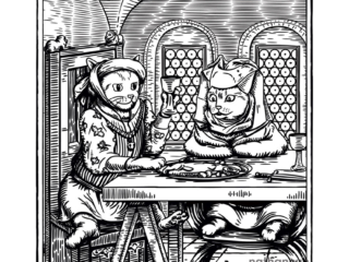 Master Cat Eating Fish - part of my medieval woodcut cats series.