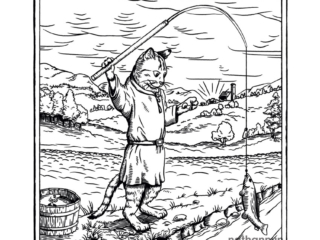 Fishing Cat - part of my medieval woodcut cats series.
