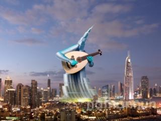 Khalifa tower playing an oud.