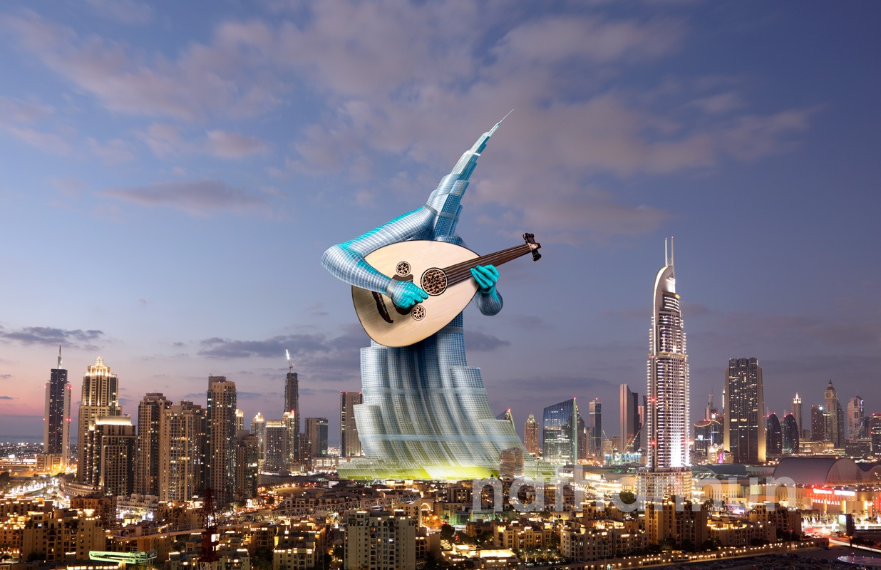 Khalifa tower playing an oud.