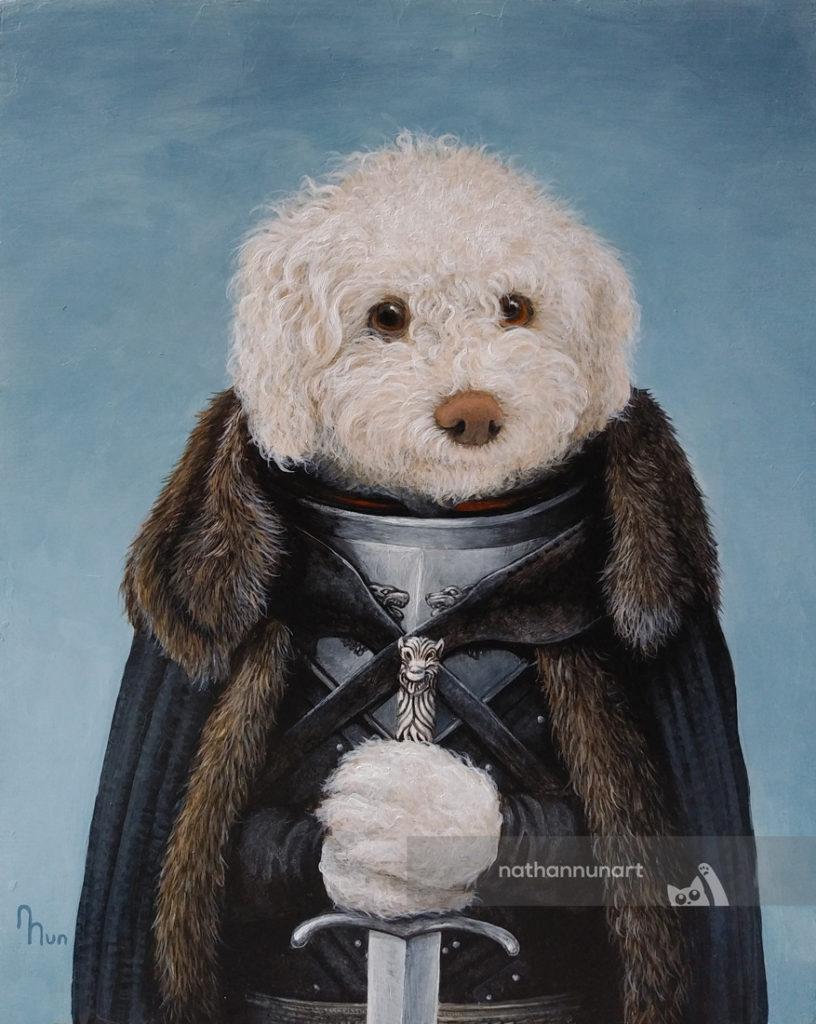 Barney the dog painted as Jon Snow from Game of Thrones