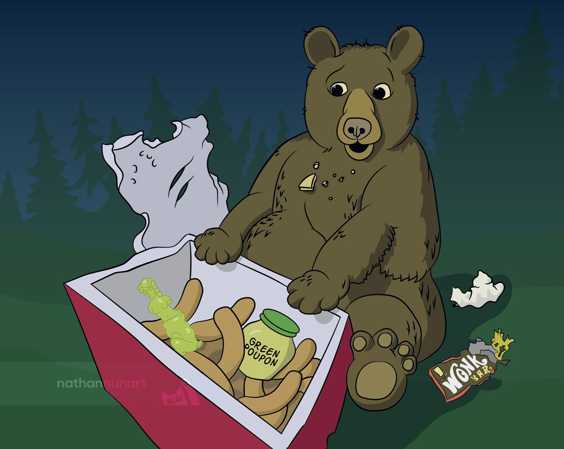 Cartoon bear rips open cooler to find treats