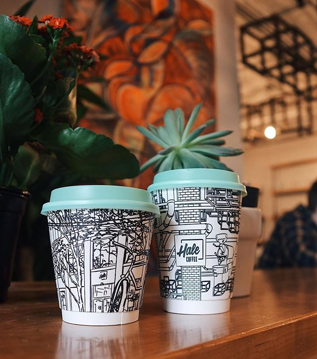 Wrap around illustrations on coffee cups