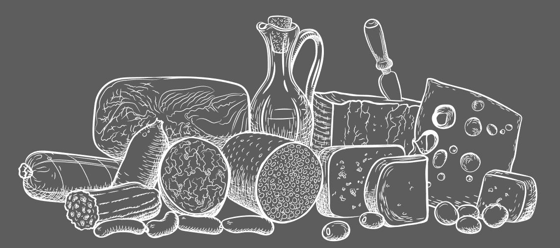 Illustration of deli meats and cheeses drawn