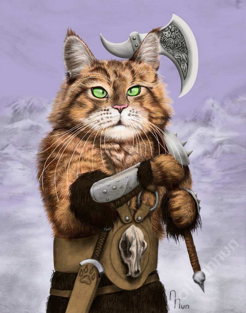 Barbarian Cat - part of my adventure cat series based on classic fantasy and d&d classes