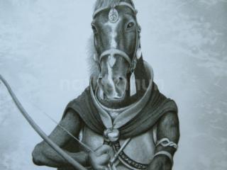 Horse drawn as a fantasy ranger character