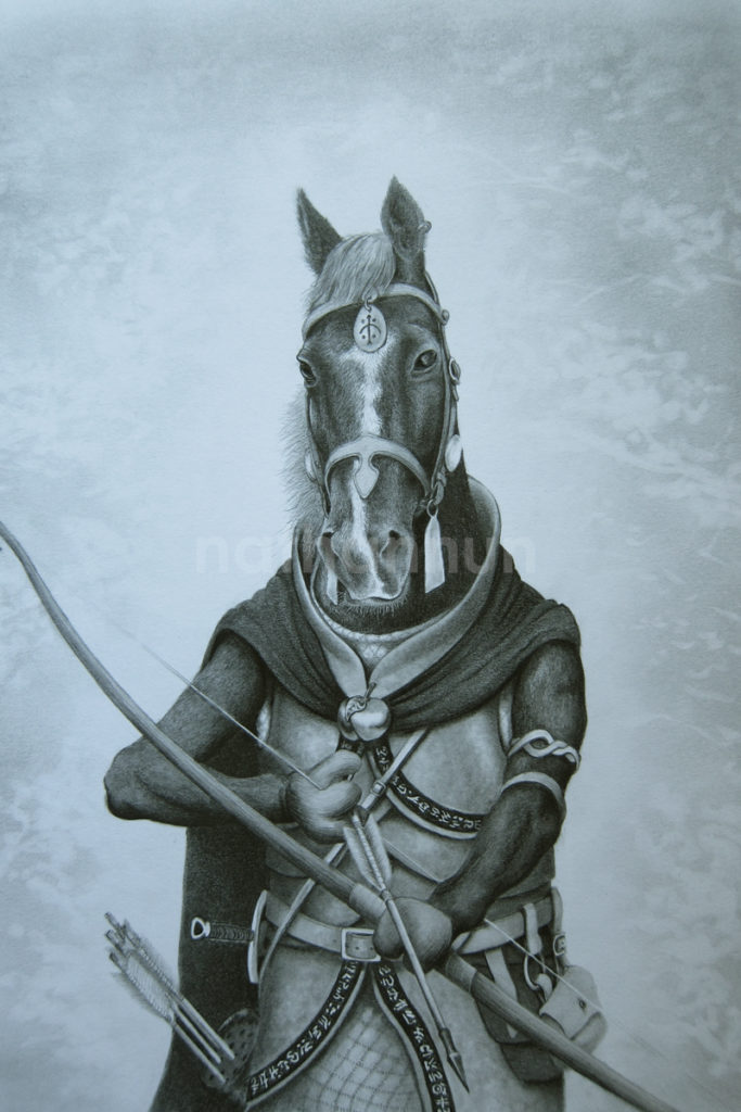 Horse ranger drawn with pencil