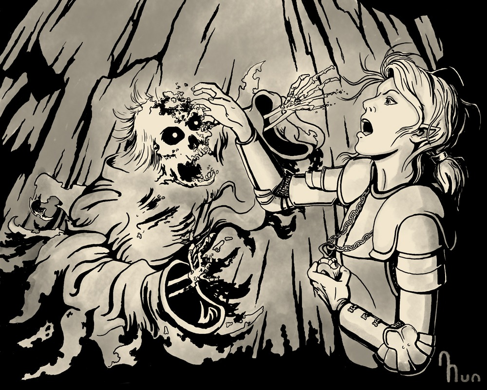 Digital ink drawing of cleric destroying undead