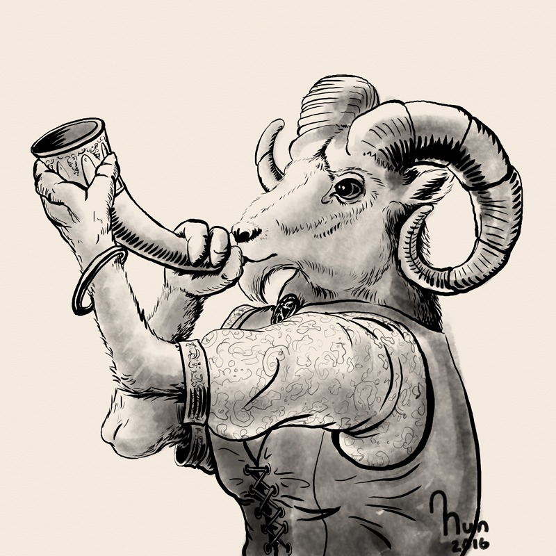 Goat with a horn drawn with digital ink for inktober 2017