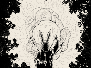 Ink drawing of a rabbit wizard summoning a great cabbage