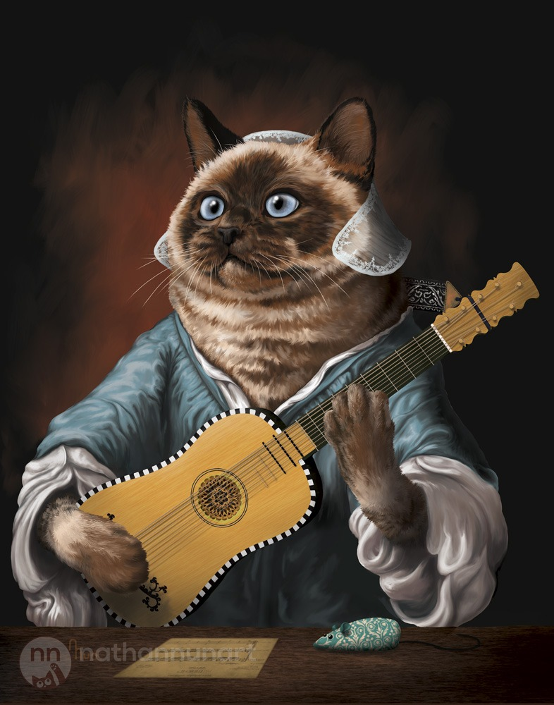 A cat with a baroque guitar painted in a Baroque style.