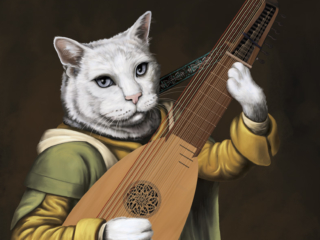 A cat with a German baroque lute painted in a Baroque style.