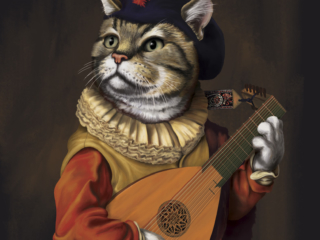 A cat with a late-Renaissance lute painted in a Baroque style.