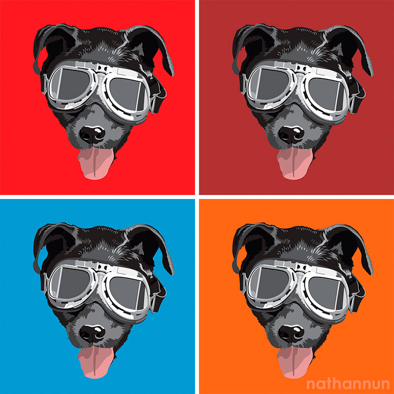Digital drawing of dog with goggles