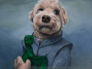 A pet portrait of a dog Daenerys Targaryen holding a small dragon