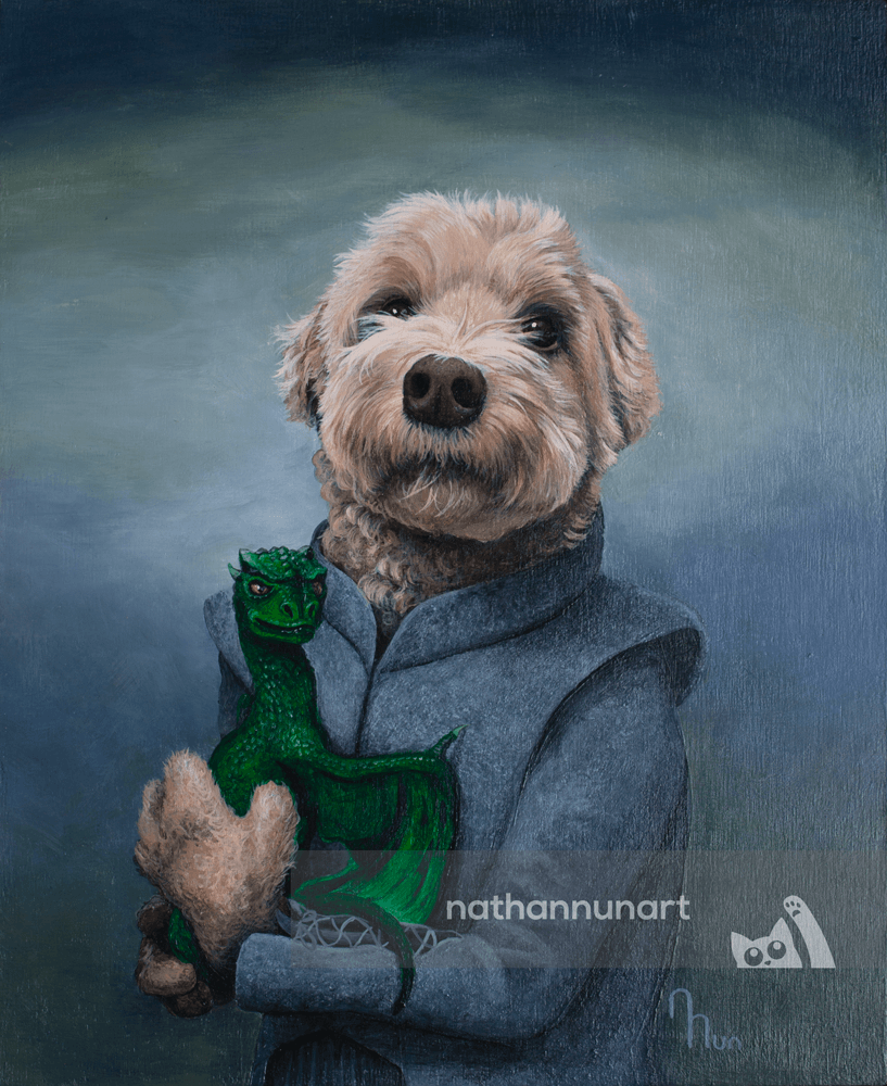 A pet portrait of a dog Daenerys Targaryen holding a small dragon