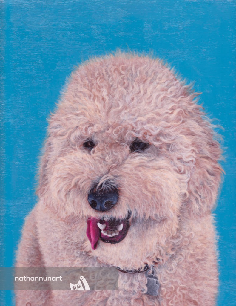 Painted portrait of a dog