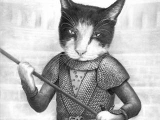 Pet portrait of a cat drawn as GoT character Oberyn.
