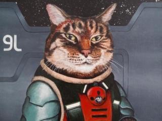 Portrait of a cat in a sci-fi costume