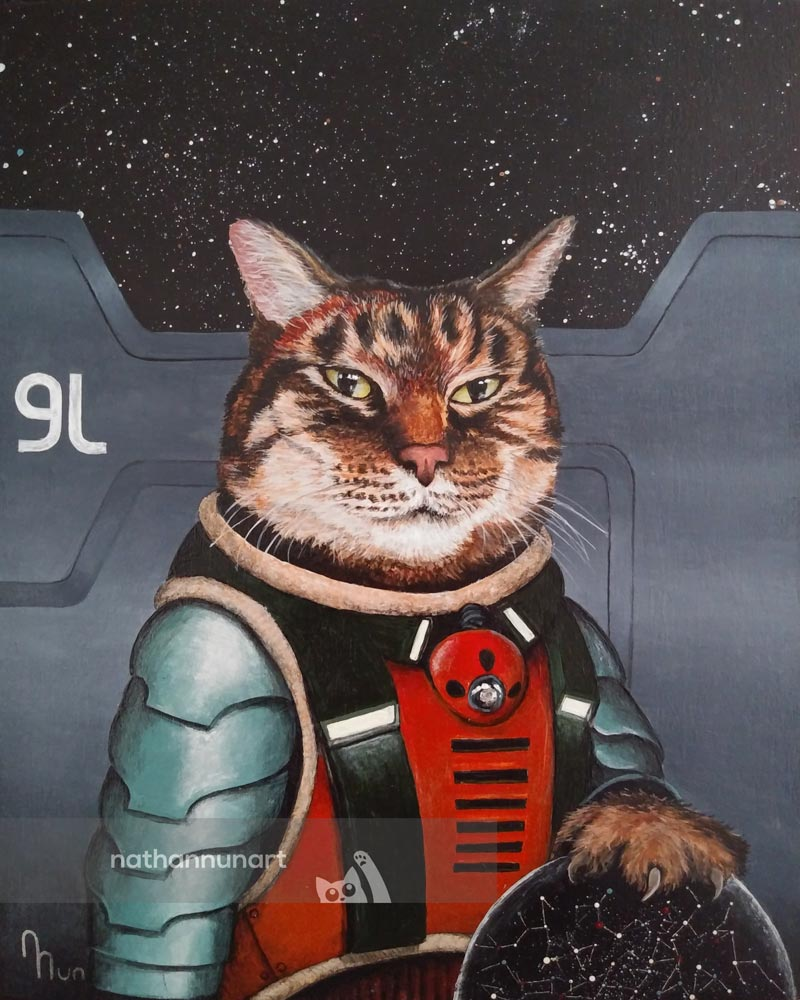 Acrylic painting of a cat as a Stellaris character