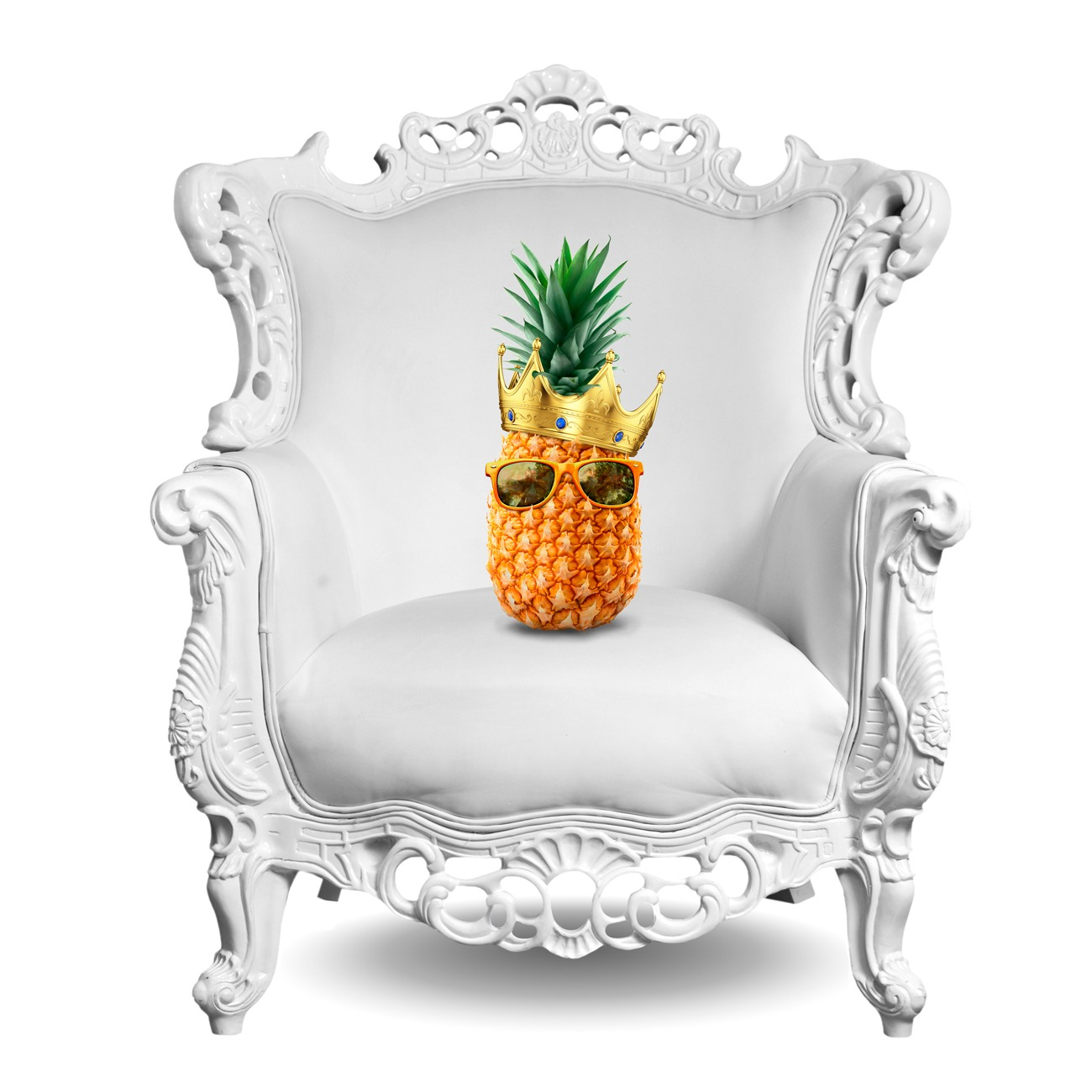 A pinapple with shades and a crown dits on a fancy white chair