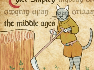 Medieval cat on the cover on the cover of a record album