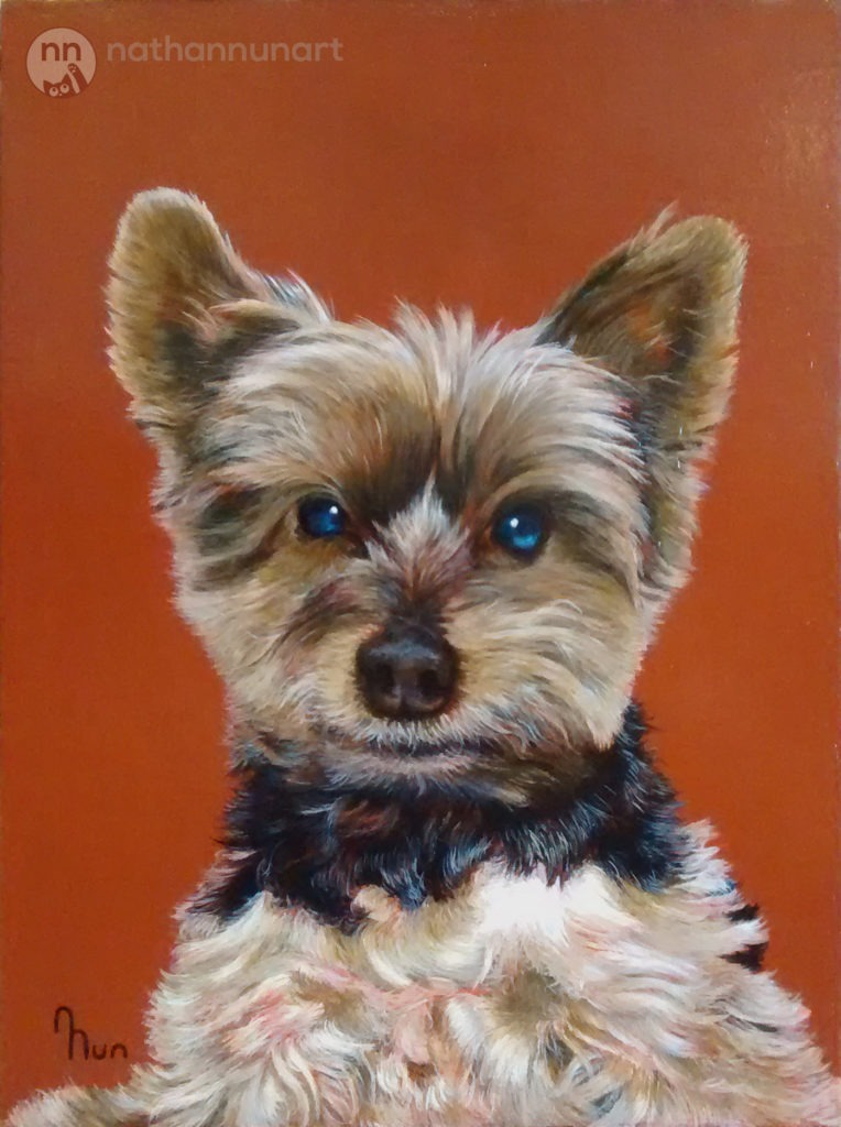 Painted portrait of a terrier