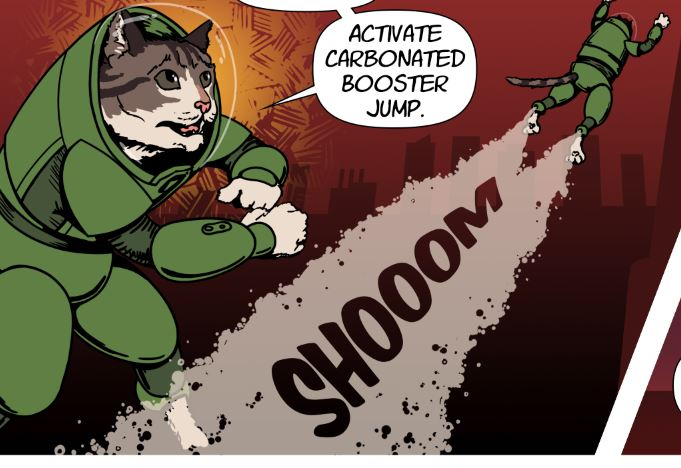 Detail from a comic with a cat activating his booster jump
