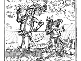 Death of Knight Cat - a knight cat is slain by a skeleton cat