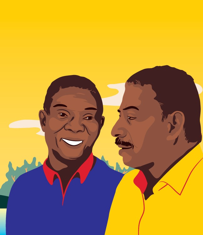 graphic of two smiling men