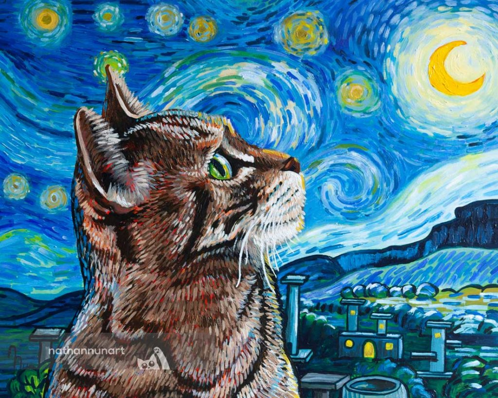 Starry Night Cat painting based on famous Van Gogh