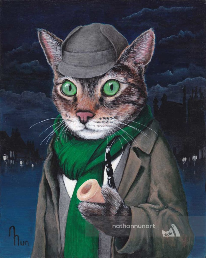 commissioned cat portrait as Sherlock Holmes